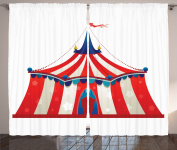 Ambesonne Circus Decor Collection, Colourful Striped Circus Marquee Tent with Stars Flag Carnival Performance Design, Window Treatments for Kids Girls Boys Bedroom Curtain 2 Panels Set, 270cm X 210cm