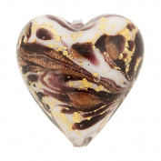 Heart 13mm Gold Foil Murano Glass Bead Chocolate and Aventurina, Marmo