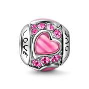 Soufeel Love Pink Heart Charm 925 Sterling Silver