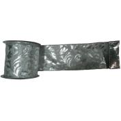 Vickerman Lame Filigree Wired Edged Ribbon, 10cm x 10 yd, Silver