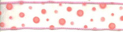 Wire Edged Sheer Pink Ribbon with Flocked Dots - 10 Yards