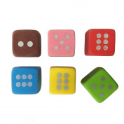 6-pcs Colour Dice Eraser Set