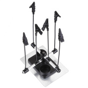 AW Airbrush Holder Stand w/ 6x Clips Adjustable Flexible Rod For Model Spray Booth Auto Paint