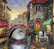 Queenlink Full Pasted DIY Square Diamond Embroidery Paintings Rhinestone Cross Stitch Bridge