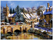 Queenlink Full Pasted DIY Square Diamond Embroidery Paintings Rhinestone Cross Stitch Winter Snow Bridge