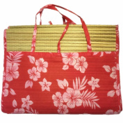 Mullsan 90cm x 180cm Large Portable 3 folds straw beach mat with 100% cotton canvas Multi Stripe outer bag with 2 straps for handle Red