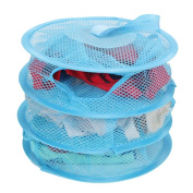 HuaYang Hanging Mesh Bra Underwear Socks Storage Net 3 Shelf Tier Semi-closed Organiser Blue