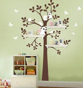 MAFENT(TM)Bear Birds Butterfly Play around Tree Wall Decal Removable Vinyl Wall Sticker for Baby Kids Children Room Decoration