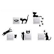 FunnyToday365 5pcs Removable Cute Lovely Cat Switch Wall Sticker