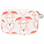 Flamingo Kissing Hearts Wristlet