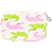 Alligator Pink & Green Chomping Wristlet