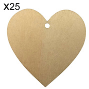 SHZONS™ 25PCs/Pack Wood Hearts with Holes, Natural Unfinished Wood Heart Cutout Shape For Wedding Christmas Ornaments