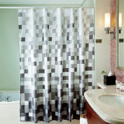 Uphome 180cm X 200cm Fashion Grey Cube Pattern Ombre Bathroom Shower Curtain - White and Black Square Polyester Fabric Shower Curtain Waterproof Bathroom Shower Curtains Deasign