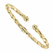 14k Yellow Gold Modern Contemporary Hinged Cuff Bangle Bracelet
