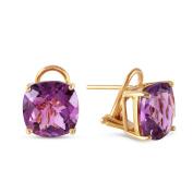7.2 Carat 14k Solid Gold Genuine Purple Amethyst French Clip Earrings