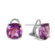7.2 Carat 14k Solid White Gold Genuine Purple Amethyst French Clip Earrings