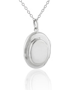 Sterling Silver Oval Double Locket Necklace, 46cm Chain, 4 Photos