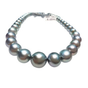 jiayipearl women's AAA 17 inches cultured south sea 12-15mm silver grey pearl necklace 14k white gold clasp