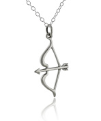 Sterling Silver Archery Bow and Arrow Charm Pendant Necklace, 46cm Chain