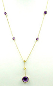 Amethyst and Citrine 43cm Lariatt Necklace,2.9 Grammes 14K Yellow Gold with Lobster Lock