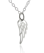 Sterling Silver Tiny Angel Wing Charm Pendant Necklace, 46cm Chain