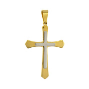 Stainless Steel 2-Tone Pointed Cross Charm Pendant