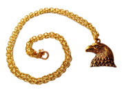 Striking Bald Eagle Charm Necklace in Bright Gold Toned Overlay