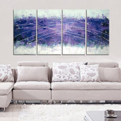 Gardenia Art - Purple Abstract Art 100% Hand Painted Contemporary Oil Paintings,Modern Artwork Wall Art for Room Decoration,4 Pcs/Set,30cm x 60cm ,Unframed