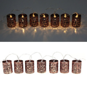 Lixada Lantern Lamp Fairy String Light 2.1M 20 LED Warm White Retro Vintage Metal Iron Hollow Cage for Party Christmas Home Room Decor Gift