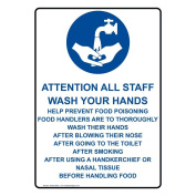ComplianceSigns Vertical Plastic Attention All Staff Wash Sign, 25cm X 18cm . with English Text and Symbol, White
