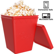 iCooker Microwave Popcorn Popper [Saves Calories] - Premium Quality Silicone - Hot Air Popcorn. Machine - Best Popcorn Maker [Red]