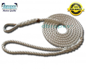 3 Strand Mooring Pendant Premium 100% Nylon Rope 0.2m X 1.5m with Thimble (Tensile Strength 2900kg.). Made in USA
