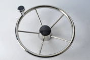 Amarine-made 5-spoke 34cm Destroyer Style Stainless Boat Steering Wheel with Big Size Knob - XK-9310SRF1