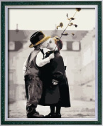 Diy oil painting, paint by number kit- Children's kiss 16*50cm .