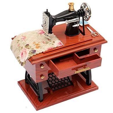 Vintage Mini Treadle Sewing Machine Mechanical Music Box