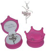 "Girl's pink crystal ballerina necklace in pink velour ""Princess"" crown jewellery box"
