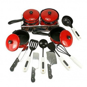 LEORX Kids Toy Kitchen Utensils Pots Cooking Food Dishes Fun Cookware