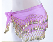 JiaHui Gold Coins Belly Dance Hip Scarf Wrap Belt costume Skirt Purple