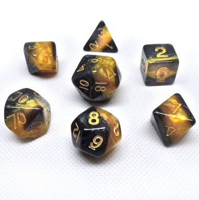 Flyesto Polyhedral 7-Die Dice Set Gold & Black with Gold Numbers DND RPG MTG Table Gaming Dices