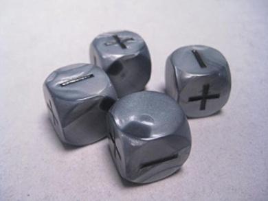 Fudge RPG Dice- Olympic Silver (4)