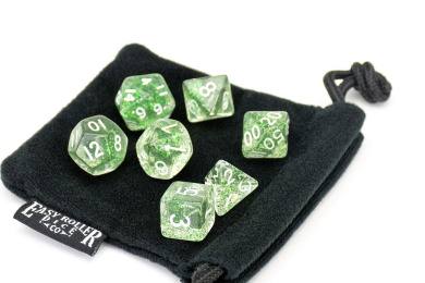 Polyhedral Dice Set | Green Sparkle | 7 Piece | PRISTINE Edition | FREE Carrying Bag | Hand Checked Quality