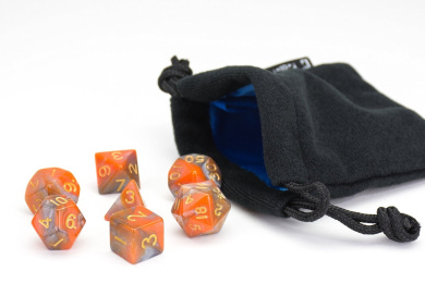 Polyhedral Dice Set | Orange and Grey Swirl | 7 Piece | PRISTINE Edition | FREE Carrying Bag | Hand Checked Quality