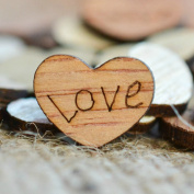 Love Wood Hearts Confetti 1.3cm - Rustic Wedding Decor