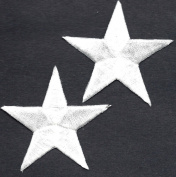 STARS - WHITE 6cm STARS (2 Pc)-Iron On Embroidered Applique/Astrology