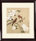 INK WASH Ready to Hang Framed Asian Watercolour Coloured Ink Traditional Chinese Wall Art Flower Paintings for Living Room 33cm x 33cm Stand for Health a Long and Happy Life & Wealth
