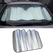 Malloom 140cm X 70cm Car Windshield Sunshade Reflective Sun Shade Auto Sun Insulation with Suction Cup