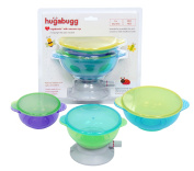 NEW!! Hugabugg Hugabowls with vacuum cup. Strongest suction on the market! Guaranteed suction for 2 hours! Includes three spill proof and stay put suction bowls with vacuum cup and three snap tight lids for easy storage and on the go mess free feeding. ..