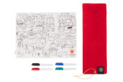 Prince Lionheart Colour and Draw Reusable Silicone Placemat with Markers and Travel Sleeve, City