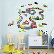 Gadfly- Track Racing Car Combination Stick Nursery/baby Wall Sticker Decal