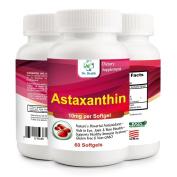 Astaxanthin 10mg 60 Softgels Powerful all Natural Antioxidant & Carotenoid High Purity Extra Strength Aids Eye, Brain, Joint, Skin, Heart Health & Anti-Ageing
